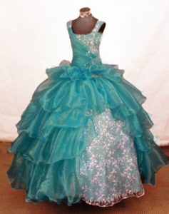 Turquoise Square Straps Ball Gown Beaded Little Girl Pageant Dresses with Layers