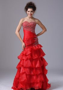 Luxurious Mermaid Sweetheart Organza Long Youth Pageant Dresses in Red