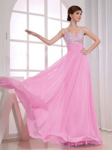 Classical Ruched and Beaded Miss Universe Pageant Dresses in Rose Pink