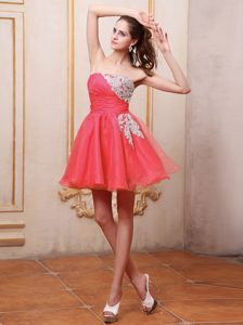 Coral Red Appliqued Zipper-up Gorgeous Pageant Dresses for Miss World