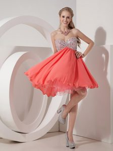 Lovely Rust Red Empire Sweetheart Dress for Pageant in Organza and Chiffon