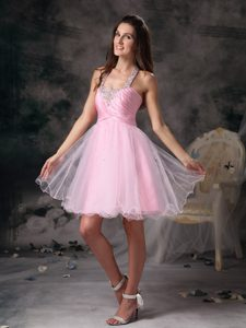 Customize Pink Column Pageant Mini Dresses with Shining Beading in Organza