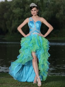 High-low Multi-color Single Shoulder Pageant Dresses with Ruffles and Beading
