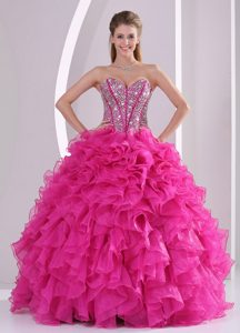 Fuchsia Sweetheart Beaded Pageant Dress for Miss USA in Organza with Ruffes