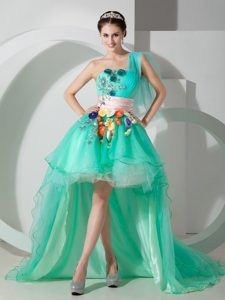 Cute One Shoulder High-low Beat Pageant Dress with Beading and Appliques