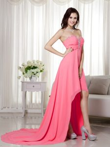 Watermelon Sweetheart High-low Prom Pageant Dress with Beading in Chiffon