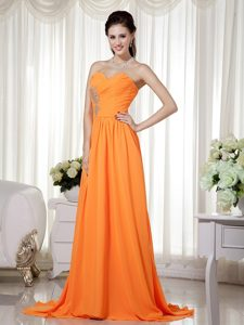 Orange Empire Sweetheart Chiffon Pageant Dress with Beading and Ruching