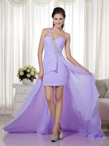 Lilac Column Beaded High-low Chiffon Prom Pageant Dresses for Miss World