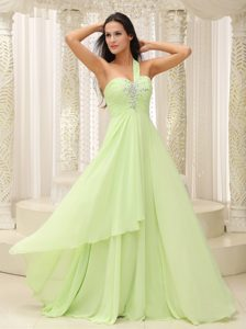 Yellow Green One Shoulder 2013 Prom Pageant Dress in Chiffon with Beading