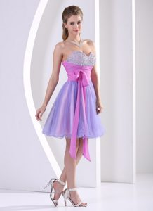 Lovely Beaded Sweetheart Prom Pageant Dress with Sash in Lavender and Lilac