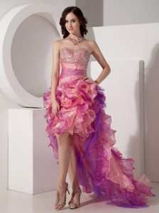 Beautiful Beaded Sweetheart High-low Pageant Dress in Organza with Ruffles