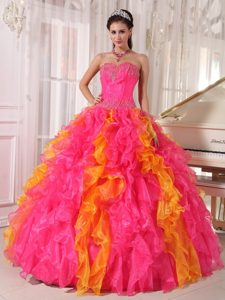 New Hot Pink and Orange Sweetheart Pageant Dress in Organza with Sequins