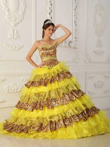 Yellow A-line Strapless Leopard and Organza Best Pageant Dress with Ruffles