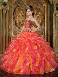 Multi-Color Strapless Organza Pageant Dress with Beading and Ruffled Layers