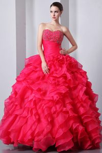 Coral Red Sweetheart Organza Prom Pageant Dresses with Beading and Ruffles
