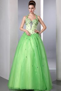 Spring Green A-line Beaded Halter Prom Pageant Dresses in Satin and Organza