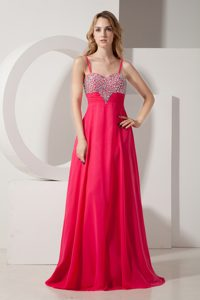 Coral Red Empire Spaghetti Straps Chiffon Pageant Dress with Shining Beading