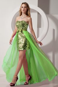 Green Column Strapless High-low Prom Pageant Dress with Sequins in Chiffon