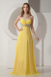 Beautiful Yellow Sweetheart Chiffon Prom Pageant Dress with Silver Beading