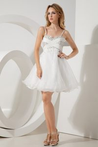 Simple White A-line Beaded Short Prom Pageant Dress in Organza for Cheap