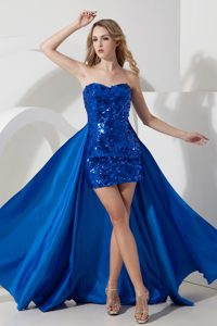Discount Strapless Sequined Mini-length Pageant Dress for Girls in Royal Blue