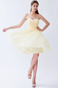 New Light Yellow Sweetheart Knee-length Chiffon Pageant Dress with Pleats
