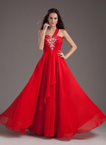 Red One Shoulder Chiffon Beaded Youth Pageant Dress to Floor-length