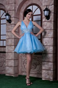 Sweet Aqua Blue A-line V-neck Dresses for Pageants in NJ with Beading