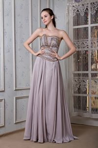 Exclusive Grey Empire Strapless Natural Beauty Pageant Dress in Chiffon