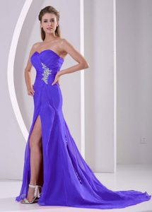 Purple Sweetheart Brush Train Ruched Pageant Dress with Appliques and High Slit
