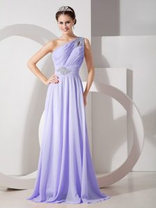 One Shoulder Brush Train Lilac Ruched Beaded Chiffon Pageant Dress with Cutout