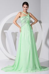Asymmetrical Shoulder Brush Train Apple Green Beaded Chiffon Pageant Dress