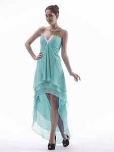 Slot Neckline Layered High-low Aqua Blue Ruched Chiffon Prom Pageant Dresses
