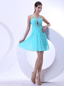 Pretty Aqua Blue Jeweled Neckline Mini-length Ruched Pageant Dress with Cutout