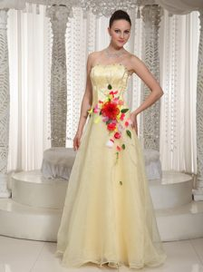 Light Yellow Strapless Floor-length Organza Prom Pageant Dress with Appliques
