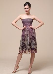 Custom Made Strapless Knee-length Special Printed Natural Beauty Pageant Dress