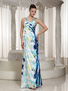 V-neck Floor-length Special Printed Pageant Dress for Miss World with Beading