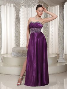 Eggplant Purple Sweetheart Floor-length Ruched Beaded Pageant Dress with Slit