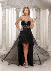 Sweetheart High-low Black Organza Natural Beauty Pageant Dress with Beading