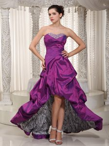 Sweetheart High-low Purple Taffeta Pageant Dresses with Pick-ups and Beading