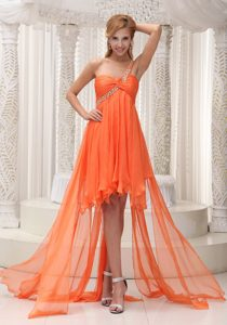 One Shoulder Asymmetrical Orange Ruched Chiffon Pageant Dress with Beading