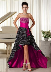 Strapless High-low Fuchsia Beaded Pageant Dresses with Pick-ups and Flowers