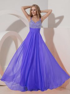 Purple Straps Floor-length Pageant Dress Patterns with Beading in Chiffon