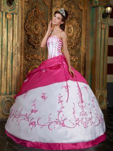 Inexpensive Fuchsia Embroidery Pageant Dresses for Miss America in Satin