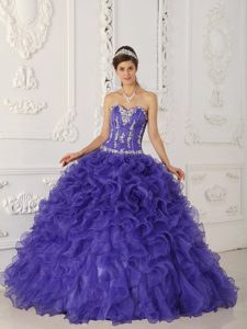 Purple Sweetheart Satin and Organza Glitz Pageant Dresses with Appliques