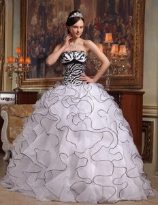 White Ball Gown Strapless Ruffled Prom Pageant Dress in Organza and Zebra