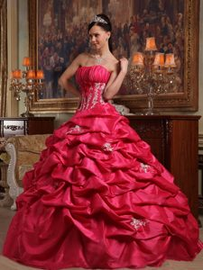 Latest Strapless Taffeta Pageant Dress Patterns with Appliques in Coral Red