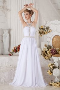 Unique White Chiffon Pageant Dresses for Girls with Beading and Halter Top