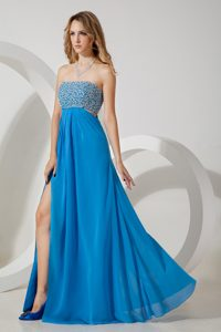 Sky Blue Strapless Chiffon Glitz Pageant Dresses with Sequins to Floor-length