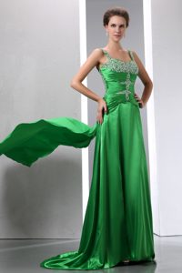 Sexy Green Beaded Straps Dresses for Pageants In NJ in Elastic Woven Satin